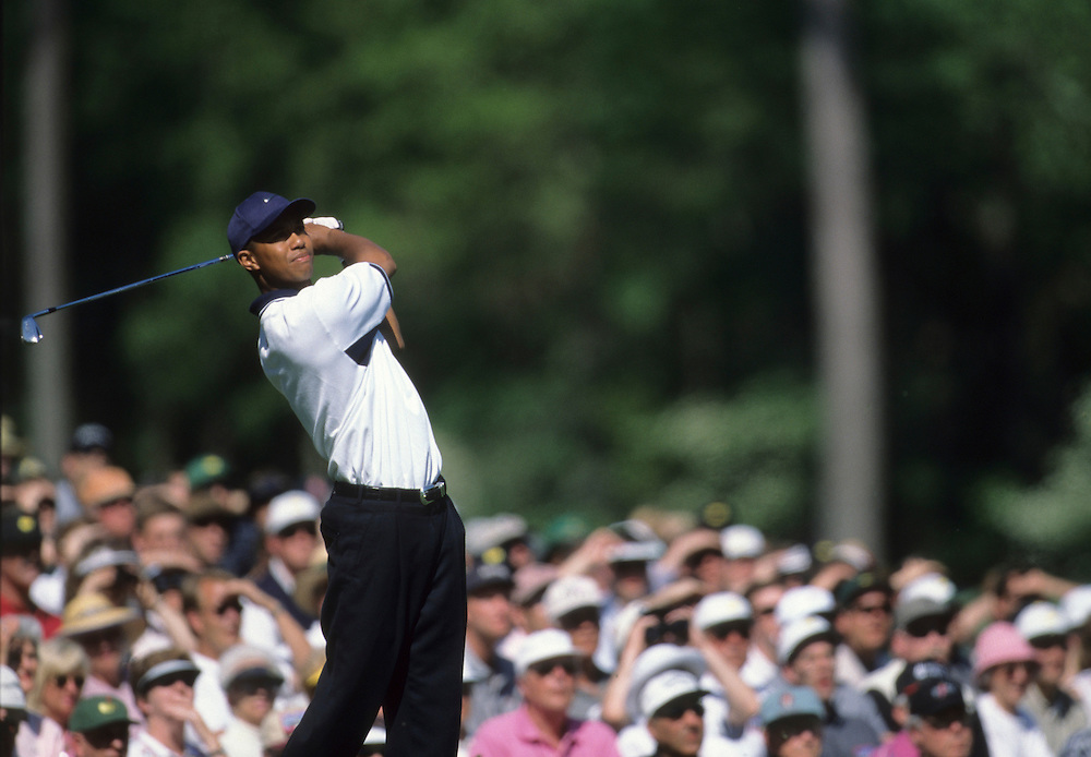 Tiger Woods at the 1998 Masters Championship held at the Augusta National Golf Club in Augusta, GA.