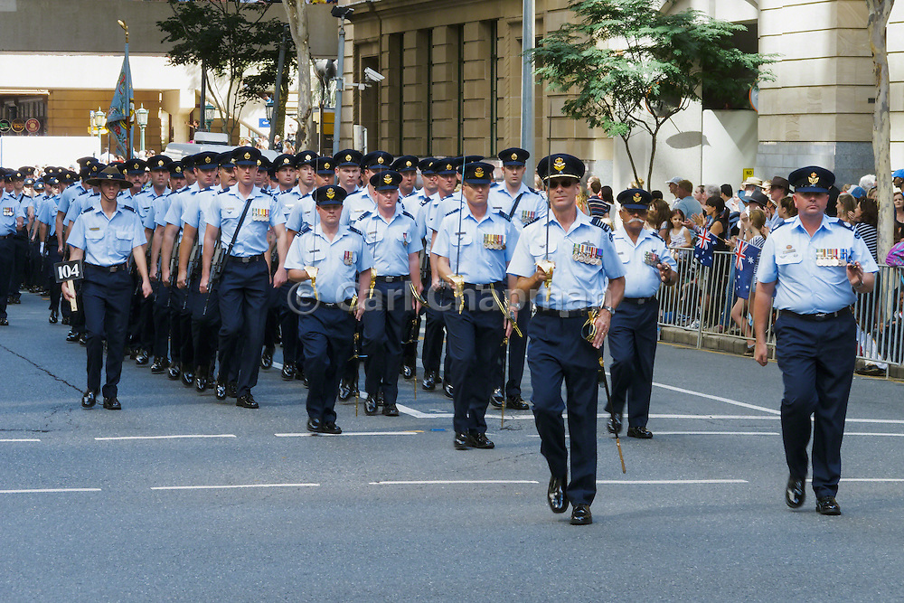 Air force personnel marching in 2014 ANZAC day parade, Brisbane