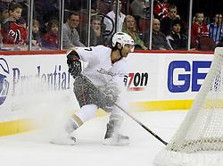 February 8, 2008; Newark, NJ, USA;  Anaheim Ducks defenseman Scott Niedermayer (27) pulls up behind his goal during the second period at the Prudential Center in Newark, NJ.