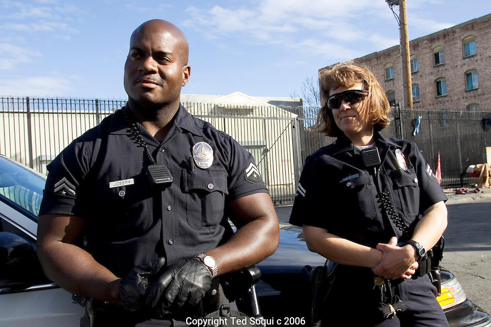LAPD Senior Lead Officers Deon Joseph and Kathy McAnany on Los Angeles's skid row.