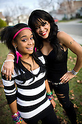 "ELK GROVE, CALIFORNIA - DECEMBER 17: Ola Ray, who co-starred with Michael Jackson in his ""Thriller"" music video, poses for a portrait with her 14-year-old daughter Iam Ray, left, December 17, 2009 in Elk Grove, California.  (Photo by Max Whittaker/Getty Images for Stern)"