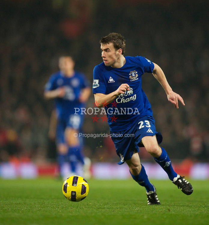 LONDON, ENGLAND - Tuesday, February 1, 2011: Everton's Seamus Coleman in action against Arsenal during the Premiership match at the Emirates Stadium. (Photo by David Rawcliffe/Propaganda)