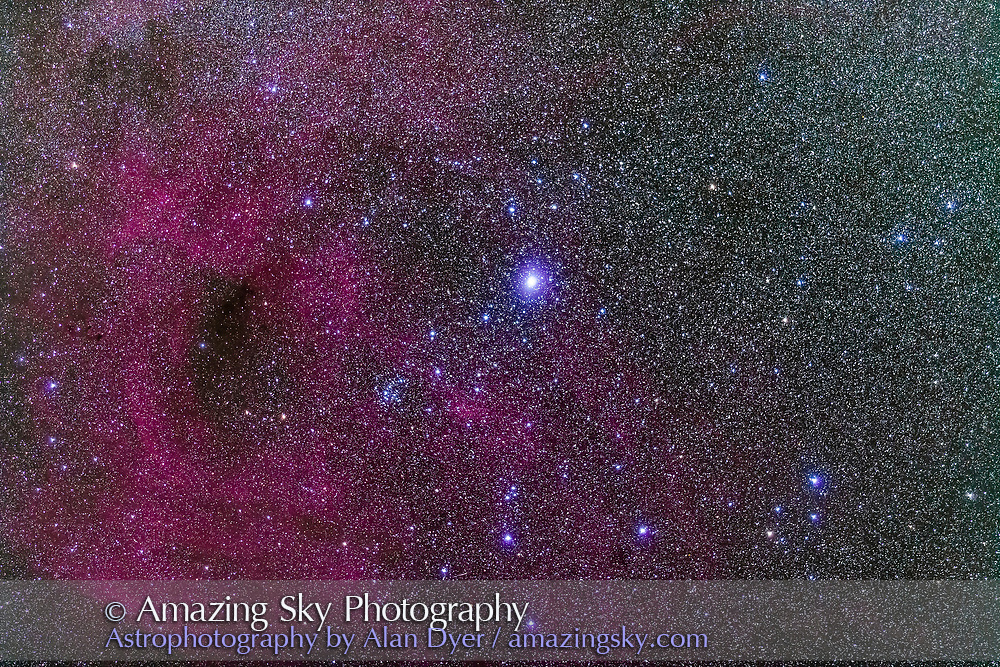Gamma Velorum (aka Suhail al Muhlif) in Vela and the open cluster NGC 2547, a bright binocular cluster. The field is also rich in faint nebulosity from the Gum Nebula. The field simulates a binocular field. <br /> <br /> A stack of 4 x 2-minute exposures with the 20mm telephoto at f/2.8 and Canon 5D MkII at ISO 2500. Tracked on the AP 400 mount. Shot from Coonabarabran, Australia.