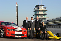 Chevrolet Indy Car engine announcement, Indianapolis Motor Speedway, Roger Penske, Randy Bernard, Helio Castroneves, Tom Stephens