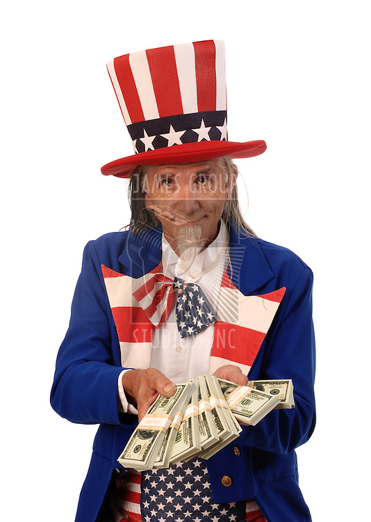 Uncle Sam on a white background offering stacks of bills