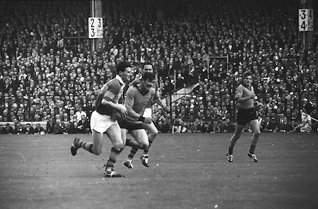 All Ireland Senior Football Championship Final, Kerry v Down, 22.09.1968, 09.22.1968, 22nd September 1968, Down 2-12 Kerry 1-13, Referee M Loftus (Mayo)..Kerry forward in possession running towards Down goalmouth,