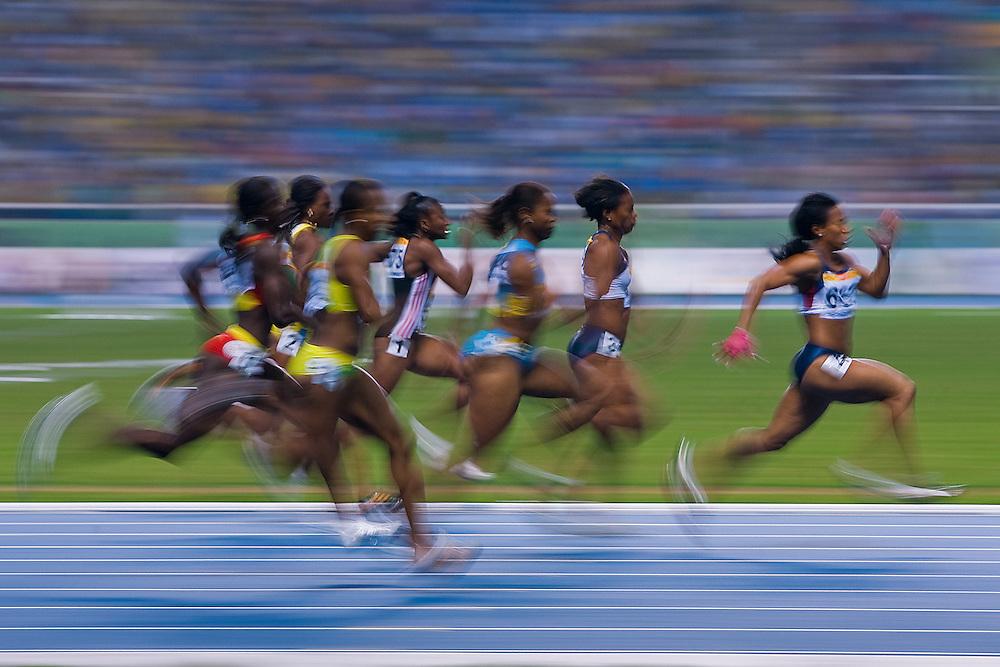 Rio de Janeiro, Brazil, July 24 of 2007:   Women's 100m final, won by Mikele Barber. <br /> Final standings: 1- USA Mikele Barber,  2- USA Mechelle Lewis,  3-BAHAMAS Chandra Sturrup,  4-BRITISH VIRGIN ISLANDS Tahesia Harrigan,  5-GRENADA Sherry Fletcher,  6-SAINT KITTS AND NEVIS Virgil Hodge, 7- US VIRGIN ISLANDS Laverne Jones, 8-JAMAICA Tracy-Ann Rowe.  (Photo: Caio Guatelli)