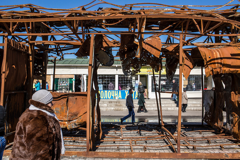 A destroyed market near the train station on Friday, April 10, 2015 in Donetsk, Ukraine.