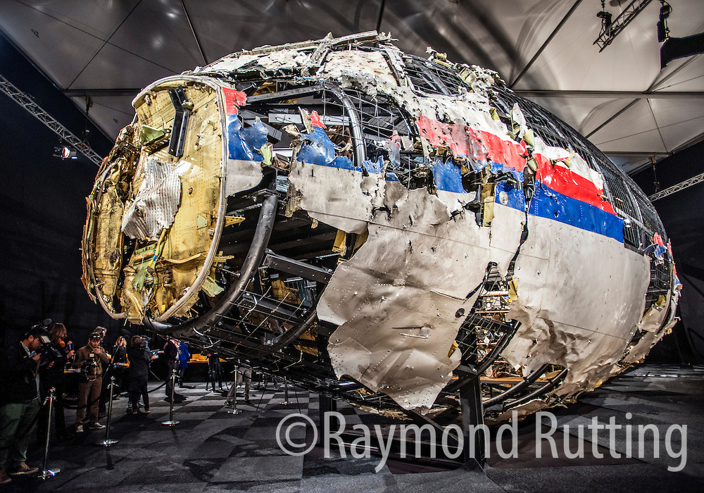 Netherlands - Gilze Rijen - Malaysia Airlines Flight 17 - The Dutch Safety board, which assembled fragments of the jet around a specially built cage, concluded that the Amsterdam to Kuala Lumpur Boeing 777 was hit by a Russian-made Buk missile. the Board concluded on Tuesday in its final report on the crash in July 2014 that killed all 298 people on board, most of them Dutch.Dutch investigators have said that the Malaysia Airlines passenger plane that crashed in a conflict zone in eastern Ukraine in July 2014 was brought down by a Russian-made surface-to-air missile. photo raymond rutting
