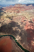 An aerial view of Grand Canyon National Park and the Colorado River.