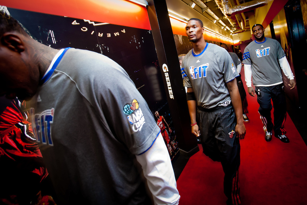 MIAMI, FL -- January 29, 2012 -- The Miami Heat - including Chris Bosh, center, and LeBron James, right, walk Championship Hall before taking the court before the 97-93 Heat win over the Chicago Bulls at American Airlines Arena in Miami, Fla., on Sunday, January 29, 2012.  (Chip Litherland for ESPN the Magazine)