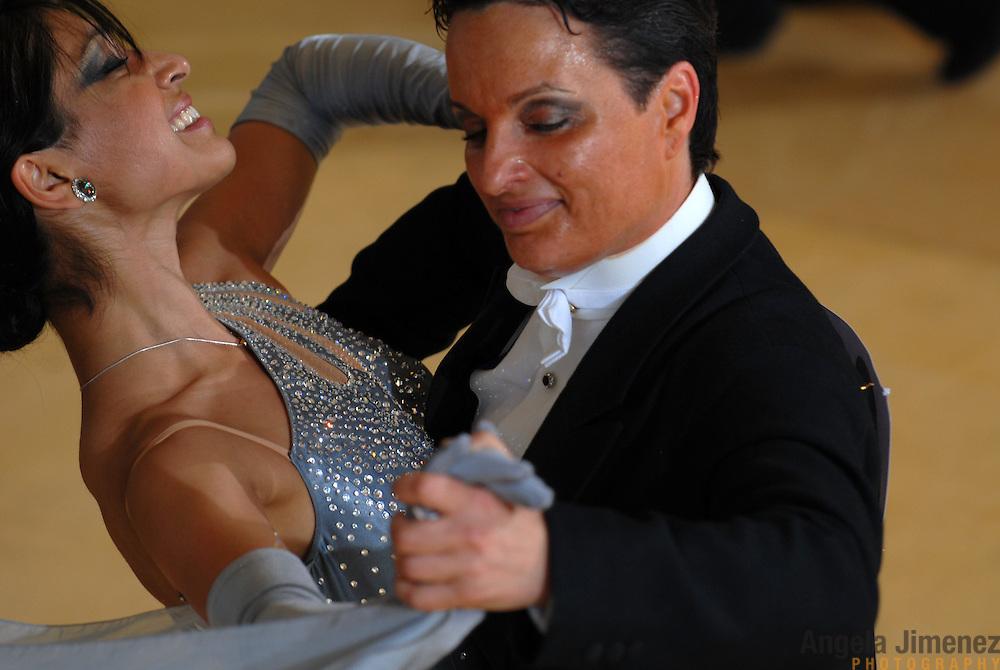 Same-sex ballroom dancers Barnaly Pande, left, and Camille Wojtasiak, both of California, compete in the women's standard competition at the 5 Boro Dance Challenge on May 5, 2007...The locally produced 5 Boro Dance Challenge, New York City's first major same-sex dance competition, was held at the Park Central Hotel in Manhattan from May 4-6, 2007. .