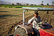 A tractor plows the fields on June 21, 2013 in Awlad Yehia, Egypt. Diesel, gas and water shortages are putting pressure on farmers in Egypt who are also contending with illegal building on land designated for agriculture. Ann Hermes/© The Christian Science Monitor 2013