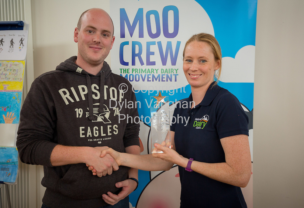 Repro Free no charge for Repro<br /> <br /> 15-6-16<br /> <br /> DERVAL O&rsquo;ROURKE CELEBRATES WITH WINNING MOO CREW SCHOOLS FROM DONEGAL &amp; LONGFORD<br />  <br /> Derval O&rsquo;Rourke, the well-known sprint hurdler who is a World Indoor Champion, multiple European medallist and three time Olympian, was in Dublin today (15th June, 2016) to celebrate with the top winning primary school children in the National Dairy Council&rsquo;s Moo Crew &ndash; Primary Dairy Moovement.<br /> Moo Crew is a fun and interactive way for children to learn about the benefits of a healthy, balanced diet and the importance of exercise &ndash; to &lsquo;get moo-ving&rsquo;.  It is supported by the NDC in light of research that showed 37% of girls and 28% of boys aged from 5 &ndash; 12 years in Ireland had inadequate calcium intakes in their diet.<br />  <br /> The top classes in the Junior Category and Senior Category of the NDC&rsquo;s national competition each won a sports equipment pack worth &euro;1,000 for their school and the day out in Airfield Farm in Dublin, with Olympic star Derval O&rsquo;Rourke.  The overall national winners of Moo Crew for 2016 are:<br /> &middot;         National Winners, Junior Category - Junior Class, Little Angels Special School, Letterkenny, Co. Donegal (Junior class Teacher Mr. Daire Diver)<br /> &middot;         National Winners, Senior Category - 4th &amp; 5th Class, Sacred Heart Primary School, Granard, Co Longford (Teachers Ms. Carmel Shaughnessy and Ms. Grace McGauran)<br /> <br /> Milly, the Moo Crew Mascot cow, joined in the action packed day which included milking cows, farmyard experiences and butter making; as well as activities such as bug hunting and woodland walks.  Further details and information about county winners at www.ndc.ie.<br />  <br /> Pictured at Airfield Farm were teacher Mr. Daire Diver, Little Angels Special School, Letterkenny, Co. Donegal and Derval O&rsquo;Rourke.<br /> <br /> Picture Dylan Vaughan