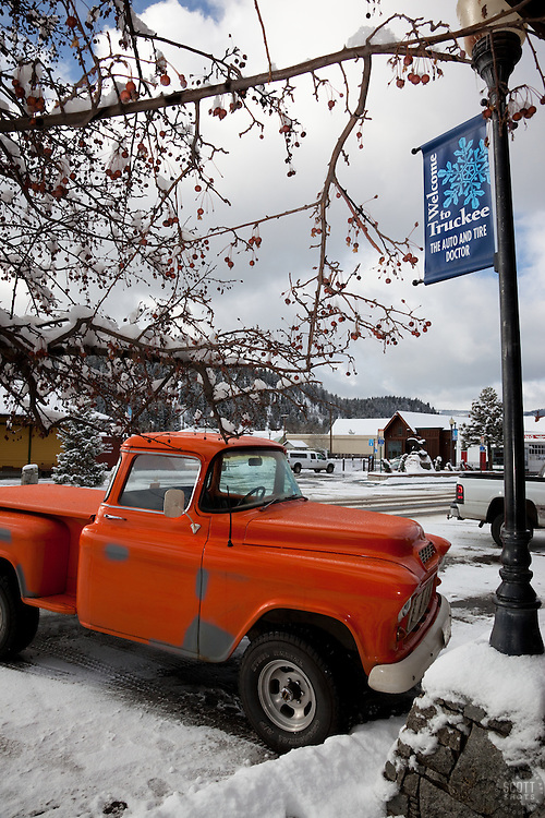 """Old Truck in Truckee"" - This old orange truck was photographed in Downtown Truckee, CA."