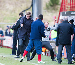 Falkirk's bench celebrates after scoring their goal..half time : Hamilton v Falkirk, Scottish Cup quarter-final, Saturday, 2nd March 2013..©Michael Schofield.