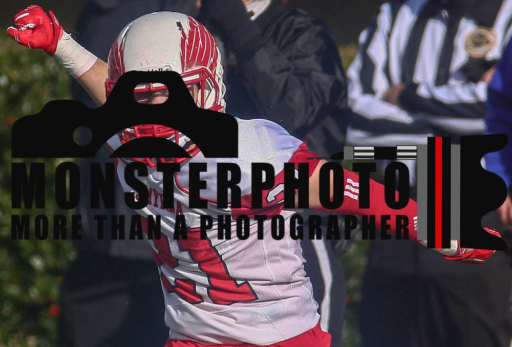 Smyrna defensive back Jacob Soroko (21) celebrates after an interception during the DIAA division one Football Championship game between Top-seeded Middletown (11-0) and second-seeded Smyrna (11-0) Saturday, Dec. 03, 2016 at Delaware Stadium in Newark.