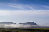 Warwick, New York -  Early  morning fog over farm fields on Sept. 24, 2014.