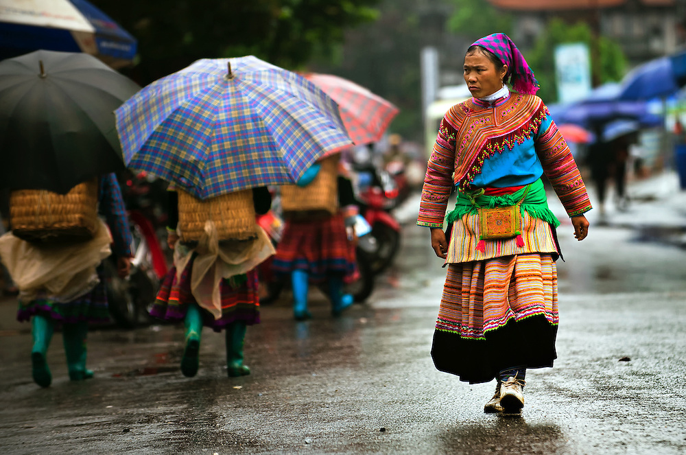 A Flower Hmong woman at the Bac Ha market, Vietnam.