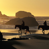 Horseback Riding.Bandon Beach.Oregon.USA