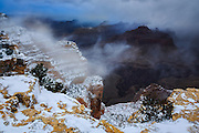 A dark and stormy winter afternoon on the South Rim of the Grand Canyon.