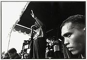 Susilio Bambang Yudhoyono celebrates Indonesia's Independence Day by singing Indonesian pop songs for supporters in Cilincing, one of Jakarta's poorest areas. August 17 2004