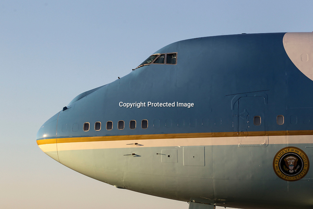 Air Force One sits on the tarmac after landing at Los Angeles International Airport in Los Angeles on Saturday, Oct. 10, 2015.  (AP Photo/Ringo H.W. Chiu)
