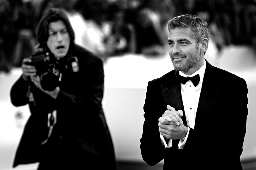 """Us actor George Clooneyarrives to the Venice Lido to attend the premiere of movie """"Michael Clayton"""" presented in competition at the 64th edition of the Venice film festival"""