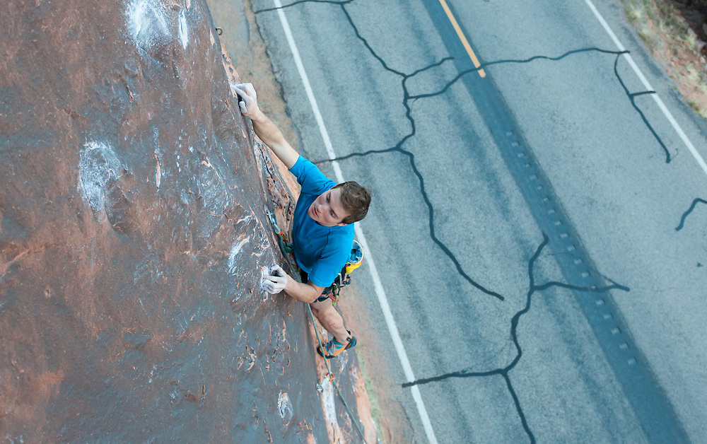 Alastair Mcdowell climbing Fernando, 5.11 at Wallstreet in Moab