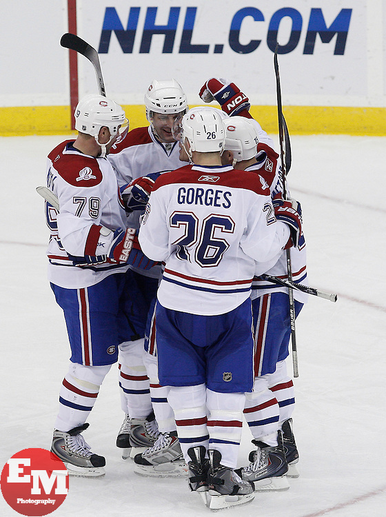 Jan 22, 2010; Newark, NJ, USA; The Montreal Canadians celebrate a goal by Montreal Canadiens left wing Mike Cammalleri (13) during the third period at the Prudential Center. The Canadians defeated the Devils 3-1.