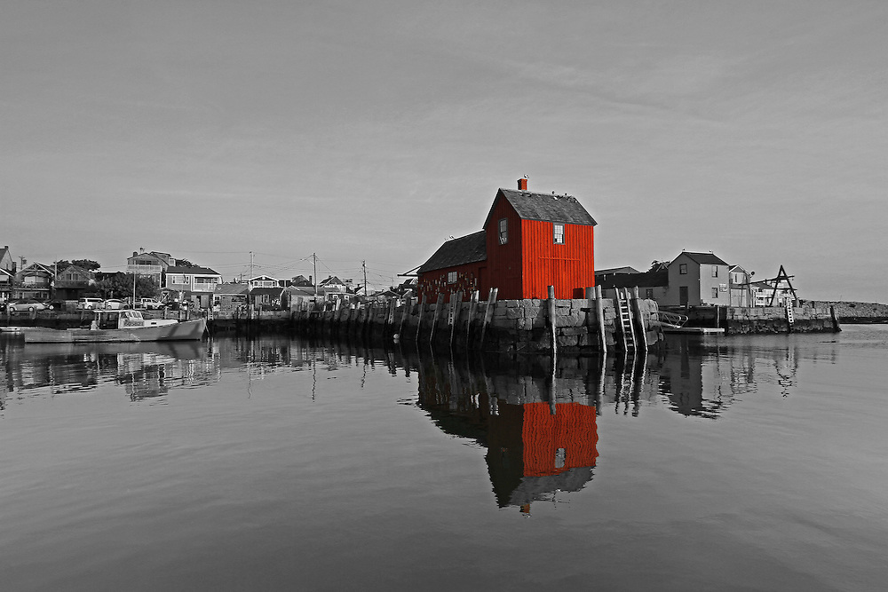 This selective color B&amp;W New England photography image of Rockport Motif #1 is available as museum quality photography prints, canvas prints, acrylic prints or metal prints. Prints may be framed and matted to the individual liking and decorating needs: <br /> <br /> http://juergen-roth.pixels.com/featured/rockport-harbor-motif-number-one-juergen-roth.html<br /> <br /> Selective color black and white photography of this famous red fishing shack in Rockport, MA on Cape Ann, photographed in the beautiful morning light shortly after sunrise. The historic landmark is known throughout New England as Motif #1, so called because it is the most often painted building in America. This morning I shared Rockport harbor with a few fishermen that were leaving the harbor in their quest for the catch of the day. They tested my patience as they were leaving the harbor in their fishing boats and ruining the reflection of this red building. Luckily the light had not passed and the shack was still sun lit by the warm sunrise light when I was able to capture this iconic New England tourist and local favorite.<br /> <br /> Good light and happy photo making! <br /> <br /> My best, <br /> <br /> Juergen<br /> Website: www.RothGalleries.com<br /> Twitter: @NatureFineArt<br /> Facebook: https://www.facebook.com/naturefineart<br /> Instagram: https://www.instagram.com/rothgalleries