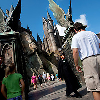 ORLANDO, FL -- May 30, 2010 -- Visitors head into Hogwarts Castle and the new Harry Potter and the Forbidden Journey ride at The Wizarding World of Harry Potter at Universal Orlando in Orlando, Fla., on Sunday, May 30, 2010.  The 20-acre park features a new ride inside the Hogwarts Castle, shops along the village of Hogsmeade, and is scheduled to officially open on June 18.