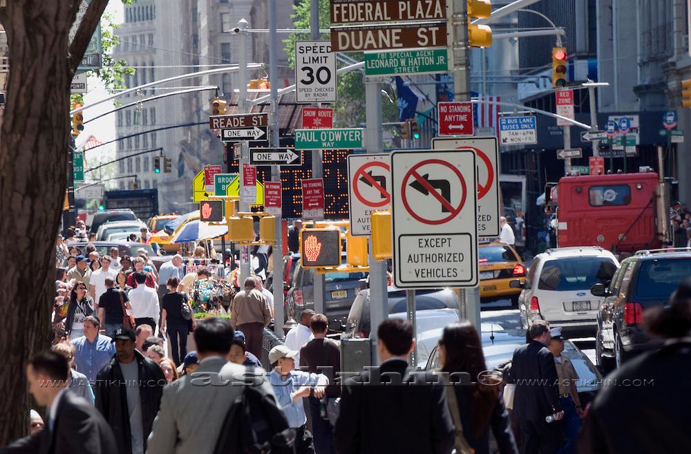 Crowds on the street of Manhattan.