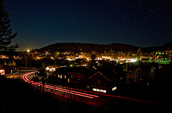 """Downtown Truckee 1"" - This is a photograph of the moon setting over Downtown Truckee, CA, in the early morning."