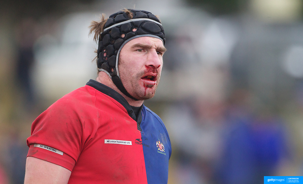 A bloodied Andrew Hore during the Otago Rugby Final between Maniototo and Arrowtown at Ranfurly, South Island, New Zealand, 9th June 2011