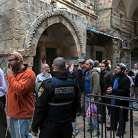 **FILE**Jewish worshippers exit the  Al Aqsa compound  sacred for Muslims and Jews, in Jerusalem's Old City.<br /> Photo by Olivier Fitoussi