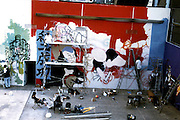 Working on the 7 Samurai from the Eastside mural in Downtown LA, 8/1997.