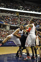 Ohio State forward Jared Sullinger (0) fights for a rebound in the first half of the Big Ten Tournament semifinals in Indianapolis, on March, 11, 2011, at Conseco Fieldhouse. Ohio State defeated Michigan 68-61.