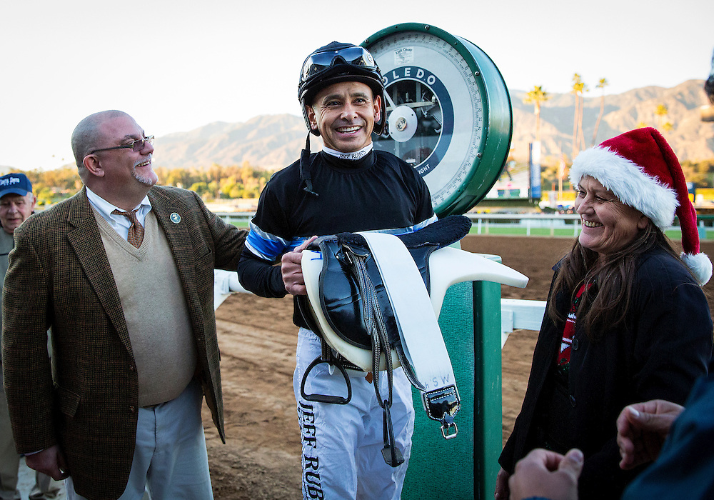 December 26 2014: Jockey, Mike Smith weighs out after winning the Malibu Stakes at Santa Anita Park in Arcadia CA. Alex Evers/ESW/CSM