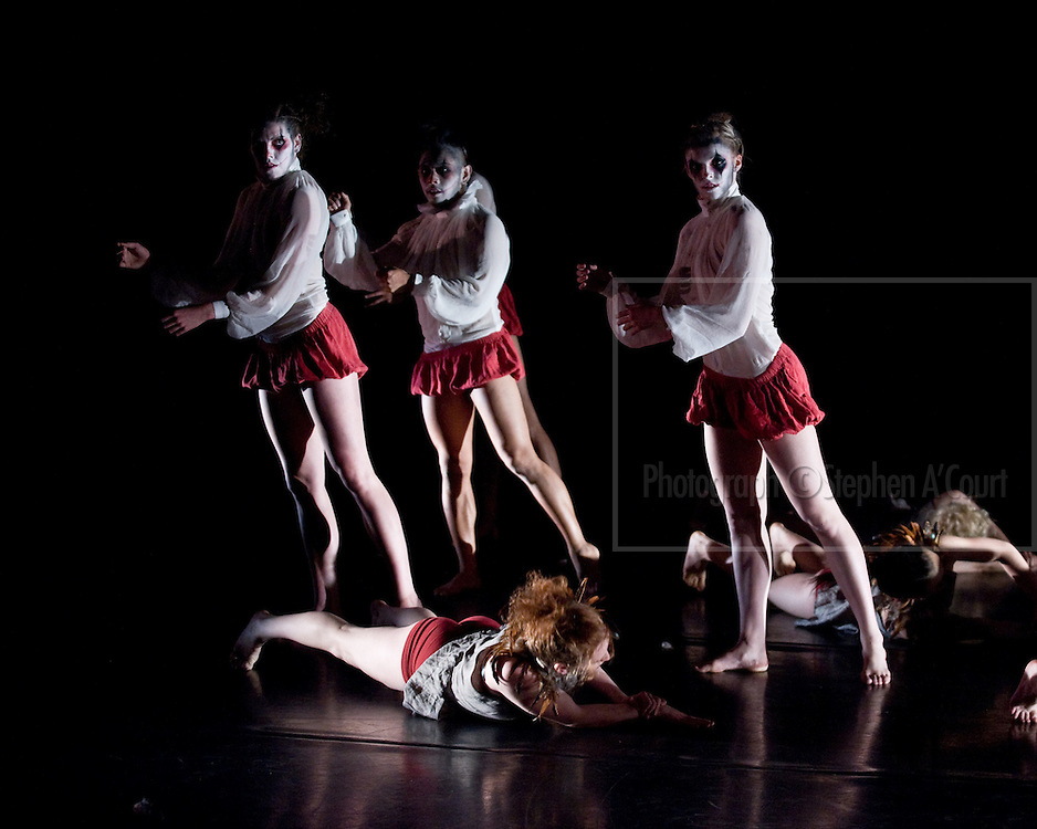 Coverage of the Graduation Season 2011 performances by the New Zealand School of Dance. Whispers From Pandora's Box, choreography by Lina Limosani.
