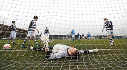 Remote picture of East Stirlingshire keeper Michael Andrews after Stranraer's Armano One goal. East Stirlingshire 0 v 2 Stranraer, 19/2/2011.