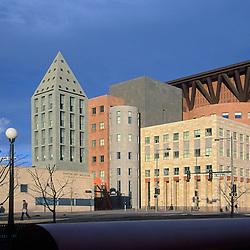 Denver Public Library exterior, Denver, CO. Designed by Michael Graves and Klipp Colussy Jenks DuBois Architects.