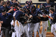 Mississippi's Alex Yarbrough hits a walk off home run vs. Murray State in college baseball action at Oxford-University Stadium in Oxford, Miss. on Tuesday, April 27, 2010. Ole MIss won 11-10 in 10 innings after blowing a 10-1 lead.