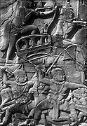 Cambodia.<br /> Relief on wall at Bayon Temple at Angkor Wat.<br /> Siem Reap. November 2001