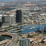 Aerial views of Melbourne Docklands area.<br />