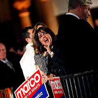 CORAL GABLES, FL -- November 2, 2010 -- Lourdes Sanchez cheers for Republican Senate candidate Marco Rubio after his win was called at The Biltmore Hotel in the Coral Gables area of Miami, Fla., on the Mid-Term Election Day on Tuesday, November 2, 2010.  Rubio won the three-way race for the seat over Independent Gov. Charlie Crist and Democrat Kendrick Meek.