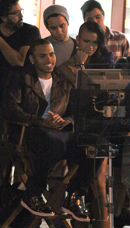 """FRIDAY, OCTOBER 16TH  LOS ANGELES, CA. ***EXCLUSIVE***  Chris Brown filming a music video for his song titled """"Crawl"""".  While Rihanna filmed a music video in New York City on Friday night, Chris Brown was simultaneously filming his music video with a Rihanna Look-A-Like in Downtown Los Angeles. Most of Chris Brown's scenes on Friday night involved him singing and dancing with an actress who was obviously suppose to be Rihanna. Photo Sales; Eric Ford/818-613-3955  Danny Mayer/310-600-7068  info@onlocationnews.com, danny@dannymayer.com"""