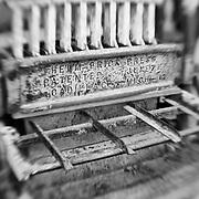 Brick Press - Pottsville - Merlin, Oregon - Lensbaby - Black & White