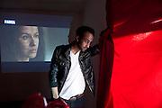 Film director Alfredo Castruita in Cuidad Juarez, Mexico<br /> <br /> LA FRONTERA: Artists along the US Mexican Border. &copy; Stefan Falke. http://www.stefanfalke.com/