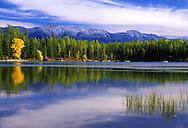 Lindbergh Lake and the Swan Mountains in fall. Swan Valley, northwest Montana.